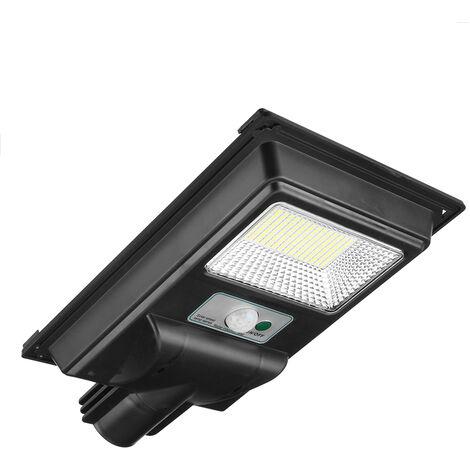 6500K PIR Luces de calle solares Sensor de movimiento Lámpara Botón de visualización Control + Control remoto + Inducción de radar (600W 300LEDs)