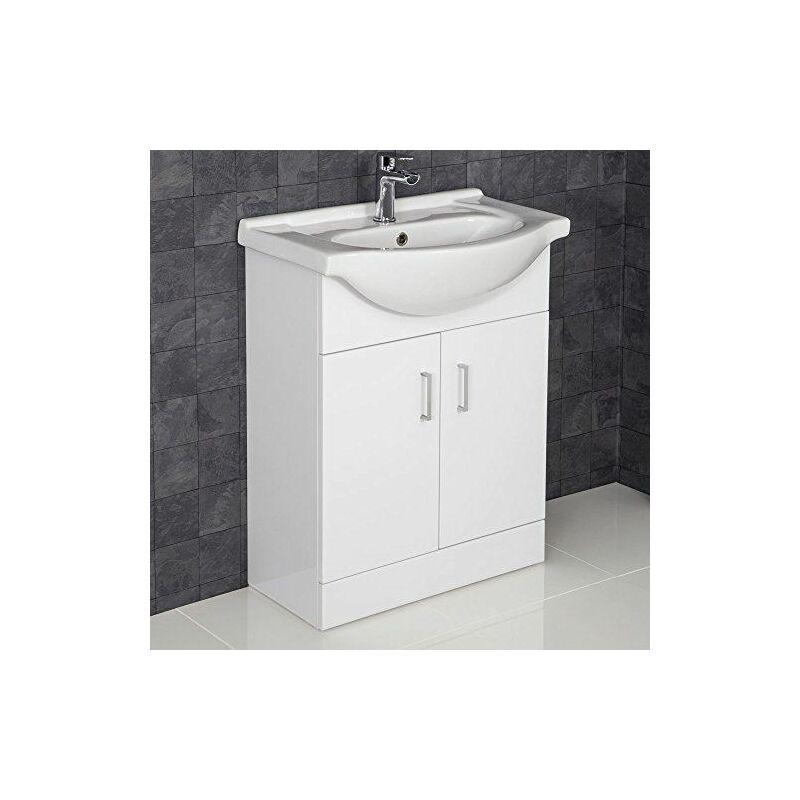650mm Bathroom Vanity Unit & Basin Sink Gloss White Tap ...