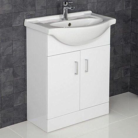 "main image of ""650mm Bathroom Vanity Unit & Basin Sink Gloss White Tap + Waste"""