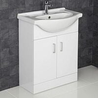650mm Bathroom Vanity Unit & Basin Sink Gloss White Tap + Waste