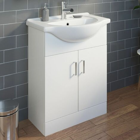 650mm Vanity Unit Bathroom Basin Sink Gloss White With Tap Waste