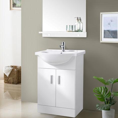 650mm White Basin Vanity Unit Sink Cabinet Bathroom Storage Furniture