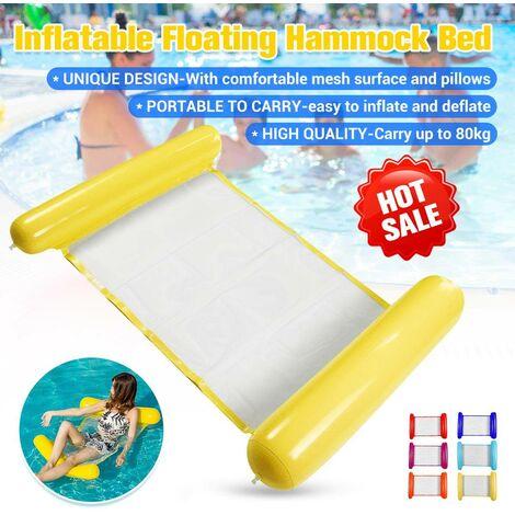 (120 * 73 cm-Transportez jusqu'à 80 kg) Hamac d'eau flottant gonflable de haute qualité Flotteur Piscine Lit de salon Chaise de bain Plage de la mer avec oreiller pour les sports nautiques en plein air (jaune, style 2)