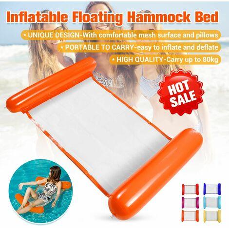 (120 * 73 cm-Transportez jusqu'à 80 kg) Hamac d'eau flottant gonflable de haute qualité Flotteur Piscine Lit de salon Chaise de bain Plage de la mer avec oreiller pour les sports nautiques en plein air (orange, style 2)