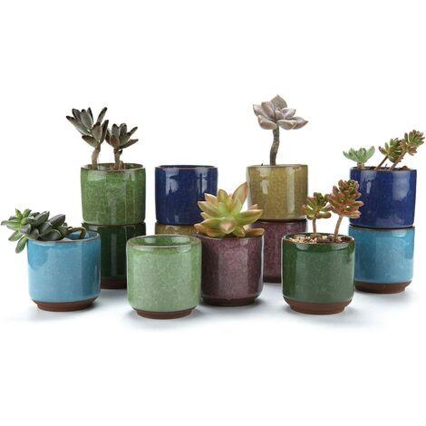 6.5CM Pots de Succulent en Céramique Crépiter Série Plante Succulente Cactus Pot de Fleur Jardinière Cultive 1 Paquet de 12 Cadeau pour Anniversaire Mariage