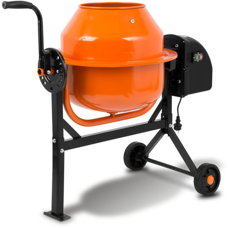 65L Betonmischer (220 Watt, 2 Räder, Fußplatte, robuster Motor, stabiles Stahlgestell) Zementmischer Betonmischmaschine