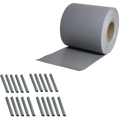 65M Clôture en PVC avec film d'aluminium pour écran de protection de la vie privée double tringle tapis de clôture gris clair rouleau opaque
