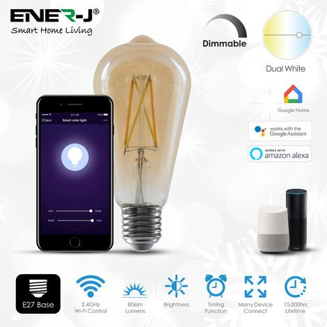 6.5W Smart WiFi ST64 Filament Lamp, Amber Glass, CCT Changing (6000K to 2700K) and Dimmable