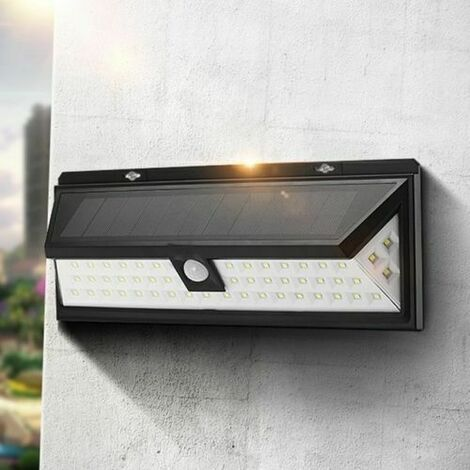 "main image of ""66 LED Black Solar Power Motion Sensor Outdoor Wall Light"""