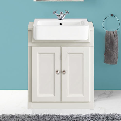 667mm Traditional Vanity Sink Unit Bathroom Cabinet Basin Storage Furniture Ivory White