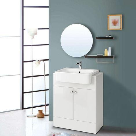 667mm Vanity Cabinet Basin Unit Floor Standing Bathroom Storage Furniture Gloss White