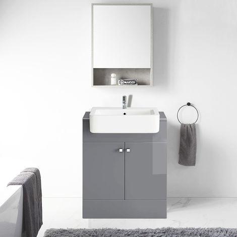 667mm Vanity Cabinet Basin Unit Floor Standing Bathroom Storage Furniture Grey