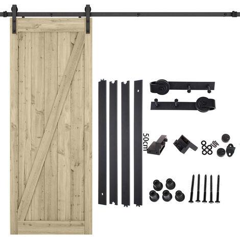6.6FT 200cm Black Barn Pulley Door Hardware Kit Sliding Track Steel Slide Track Rail Door Antique Style Sliding Door for Flat Sliding Panel Wood Single Door Closet Cabinet