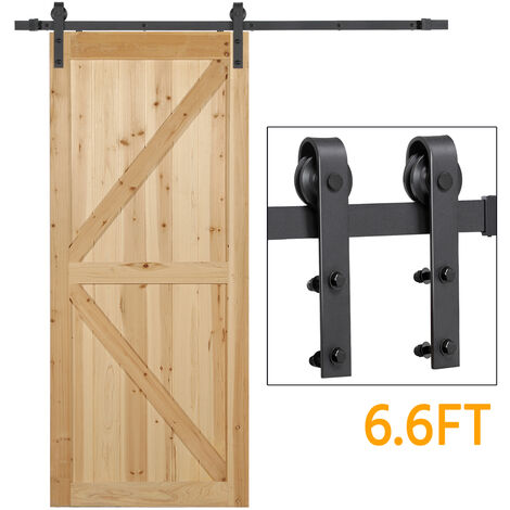 6.6FT Retro Sliding Steel Barn Wood Door Hardware