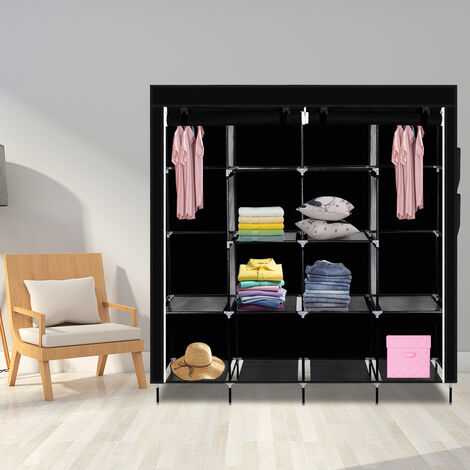 "67"" Clothes Closet Portable Wardrobe Clothes Storage Rack 12 Shelves 4 Side Pockets-different"