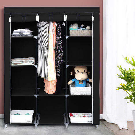 "67"" Portable Closet Organizer Wardrobe Storage Organizer with 10 Shelves Quick and Easy to Assemble Extra Space Black WQ508BK"