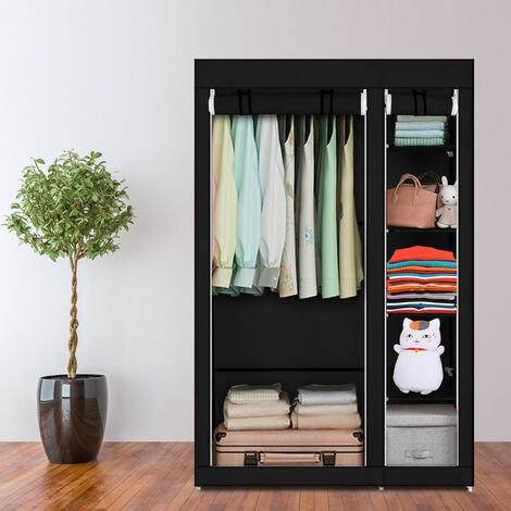 "67"" Portable Clothes Closet Wardrobe with Non-woven Fabric and Hanging Rod Quick and Easy to Assemble Black QWGT504BK"