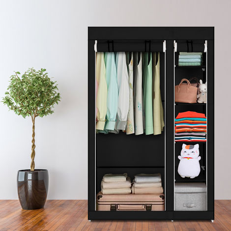 "67"" Portable Clothes Closet Wardrobe with Non-woven Fabric and Hanging Rod Quick and Easy to Assemble Black WQ504BK"