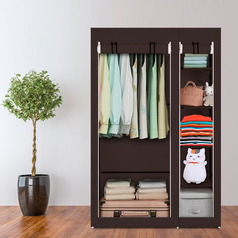"67"" Portable Clothes Closet Wardrobe with Non-woven Fabric and Hanging Rod Quick and Easy to Assemble-different"