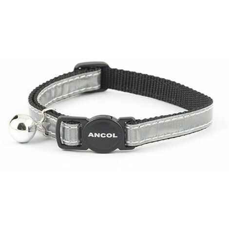 670890 - Gloss Reflective Safety Buckle Cat Collar Silver