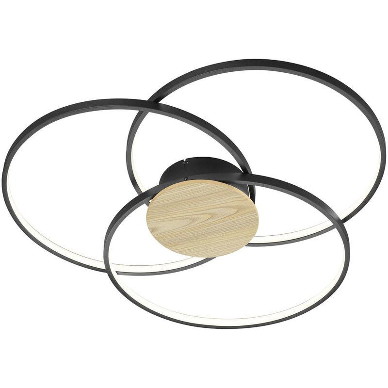 LED Deckenleuchte Sedona in Schwarz-Matt und Braun 40w 3600lm