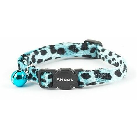 "main image of ""673440 - Velvet Leopard Print Cat Collar Turquoise"""