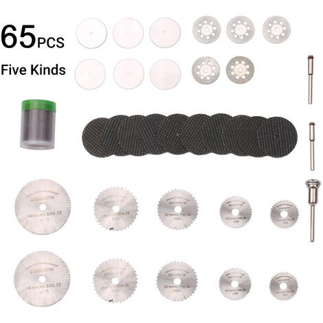 67pcs diamante de corte discos de lijado Muela HSS circular hoja de sierra de la carpinteria metalica Dremel Mini taladro rotativo Accesorios para herramientas, 67 de corte del sistema de rueda