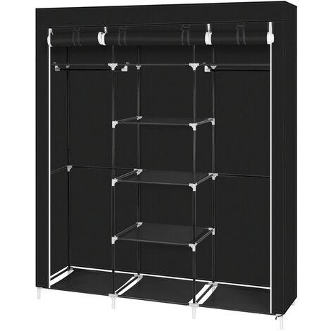 "69"" Portable Clothes Closet Non-Woven Fabric Wardrobe Double Rod Storage Organizer Black"