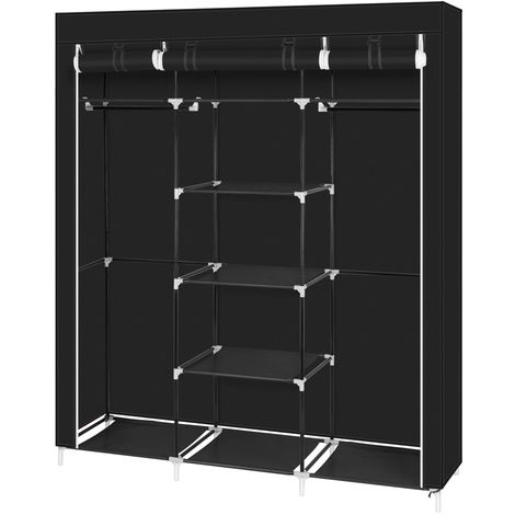 "69"" Portable Clothes Closet Non-Woven Fabric Wardrobe Double Rod Storage Organizer Black WQ503BK"