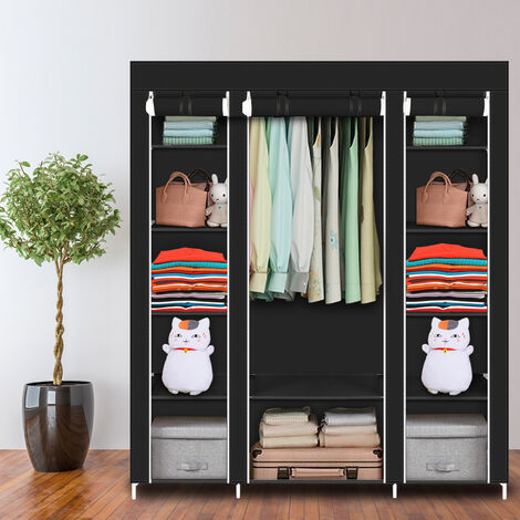 "69"" Portable Clothes Closet Wardrobe Storage Organizer with Non-Woven Fabric Quick and Easy to Assemble Extra Strong and Durable Black QWGT505BK"