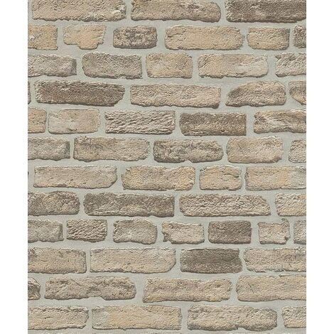 6939-20 - Brick - Effect - Wall - Taupe / Mocha - Textured - Wallpaper