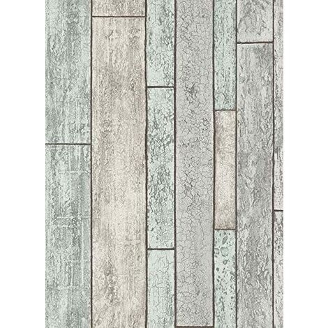 6943-10 - Wood Panel - Grey / Teal - Shabby - New England - Wallpaper