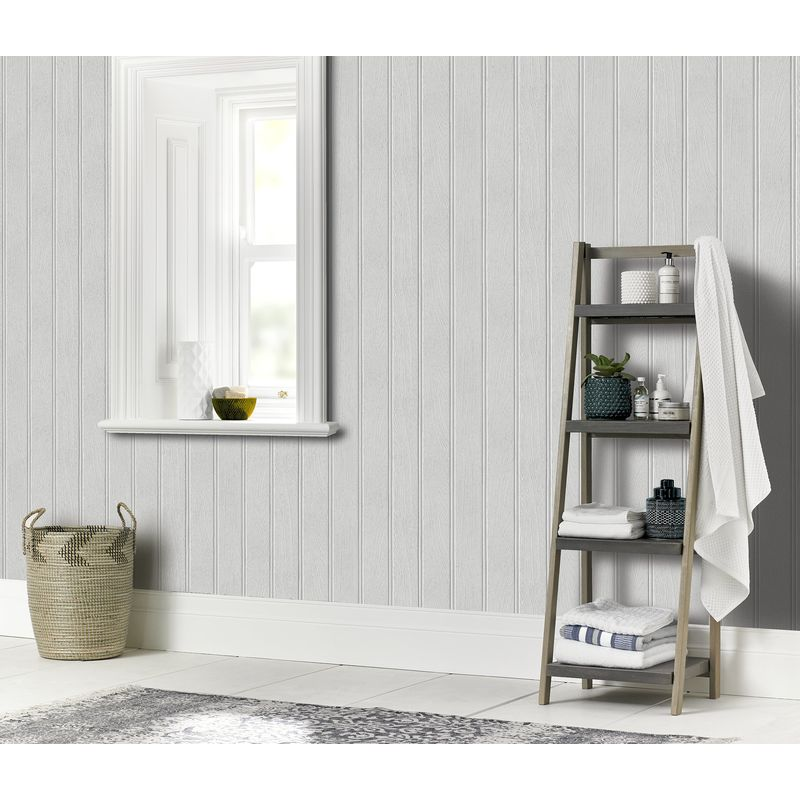Wood Panelling Cladding Arthouse Tongue /& Groove Grey Wallpaper 694300