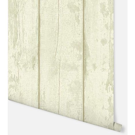 698106 - Washed Wood Cream/Green - Arthouse Wallpaper