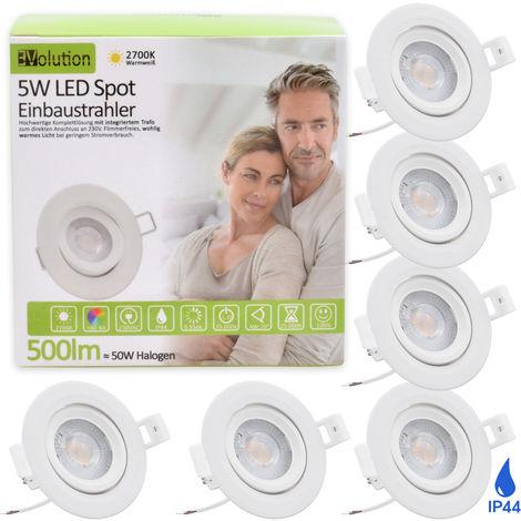 6er Set Evolution IP44 LED Einbaustrahler 5W 500lm ersetzt 50 Watt Strahler, 230V, flach Wohn- und Badezimmer, schwenkbar, 2700k Deckenspots, Einbauspots, Einbau-Strahler, Deckeneinbaustrahler, Einbauleuchte