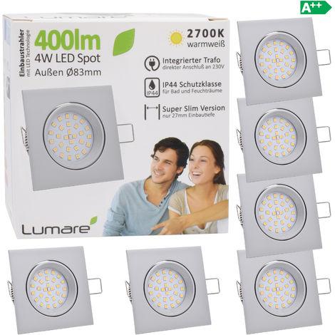 6er Set Lumare IP44 LED Einbaustrahler 4W 400 Lumen, nur 27mm extra flache Einbautiefe, LED Leuchtmodul austauschbar, Deckenspot AC 230V 120° warmweiß silber matt eckig
