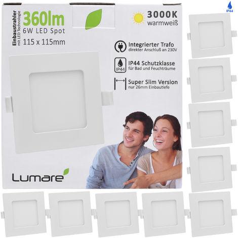 6er Set Lumare LED Einbauspot 6W IP44 extra flach 230V auch für Bad und Feuchtraum, weiß nur 26mm Einbautiefe, Slim Deckenspot, quadratisch mit integriertem 360lm LED Leuchtmittel