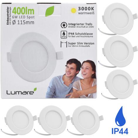 6er Set Lumare LED Einbaustrahler 6W 230V IP44 Ultra flach Wohnzimmer, Badezimmer Einbauleuchten, weiss 26mm Einbautiefe, Mini, Slim Decken Spot warmweiß