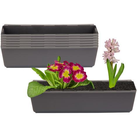 6er Set Pflanzkasten inkl. Aufhänger für Europalette - Blumenkübel in Anthrazit - LxBxH ca. 37 x 13,5 x 9,5 cm - Ideal zum Hängen & Stellen - Robust & wetterfest -
