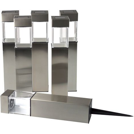 6er Set Power-LED Solarlampe mit Erdspieß H28cm von Grundig, Inox Edelstahl Silber, Solarleuchte Gartenbeleuchtung