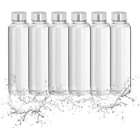 6er Set Trinkflasche Glas, Wasserflasche mit Hülle, 500ml, spülmaschinenfest, wasserdicht, transparent/schwarz