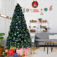 6FT 180CM Fibre Optic Colour Changing Green Christmas Tree Xmas W/ LED Lights