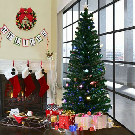 6FT 7FT 8FT Green Christmas Tree Luxury Fiber Optic Xmas Trees LED Lights Bauble
