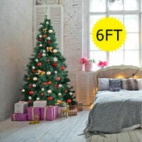 6FT Artificial Christmas Tree Green with Metal Stand Xmas Decorations UK