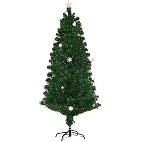 6FT Green Christmas Tree Luxury Fiber Optic Xmas Trees LED