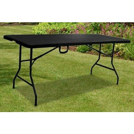 6FT HEAVY DUTY FOLDING TABLE PORTABLE RATTAN CAMPING GARDEN PARTY CATERING NEW