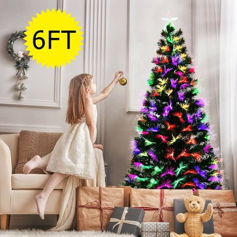 6ft LED Fiber Optic Artificial Christmas Tree Blossom Effects W/ Top Star Large