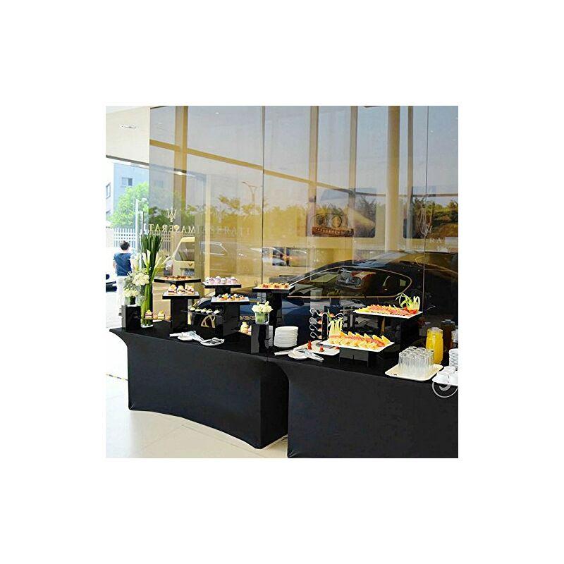 Manta - 6FT rectangulaire Spandex Table Cover Stretch Wedding Party Buffet Tissu Noir (noir) noir 6 pi