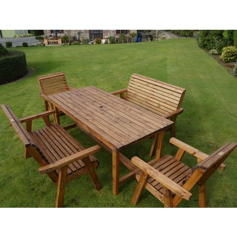 6ft Table + 2 Chairs + 2 Benches Flatpack