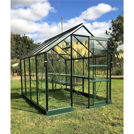 6ft x 10ft Premier Low Threshold Green Frame Greenhouse